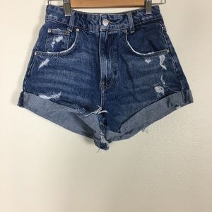 Zara Trafalic High Waisted Cuffed Jean Shorts